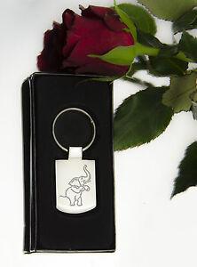 Engraved LUCKY ELEPHANT Design keyring BOXED Personalised Free Keyring