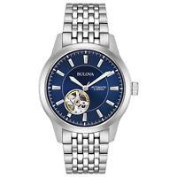 Bulova Men's Automatic Skeleton Window Blue Dial Silver-Tone 40mm Watch 96A189
