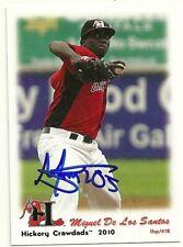 2010 Hickory Crawdads MIGUEL DE LOS SANTOS Signed Card autograph RANGERS rc