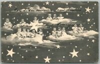 MULTIPLE BABIES in the CLOUDS w/ STARS ANTIQUE POSTCARD
