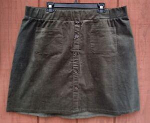 Torrid Olive Green Stretch Corduroy Button Mini Skirt Size 2X NWOT