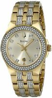 Bulova Women's 98M114 Quartz Crystal Accent Gold Bracelet 32mm Watch
