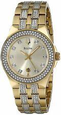 Bulova Women's Quartz Crystal Accents Gold Tone Bracelet 32mm Watch 98M114