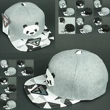 Ball Cap ANIMAL PANDA BEAR GRAY SNAP BACK Flat rim Hiphop Baseball Hat UK