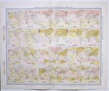1899 LARGE WEATHER METEOROLOGY MAP WORLD MONTHLY CHANGES OF TEMPERATURE PRESSURE