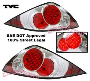 fit 03-05 fits Honda Accord LED Chrome Tail Lights 2D 2 Dr COUPE PAIR by TYC