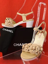 15P NIB CHANEL BEIGE LEATHER CAMELLIA FLOWERS CC LOGO LOW HEEL SANDALS 37 $1075
