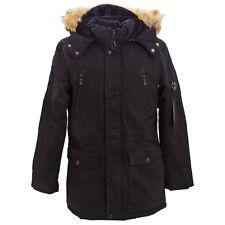 Parka hombre chaqueta capucha piel sintética cálido chaquetón largo nuevo YT308