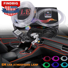 6M RGB LED Car Interior Neon EL Strip Light Sound Active Phone Control