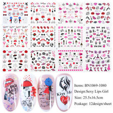Nail Art Stickers Diy Water Transfer Love Kisses Valentine Manicure Decor