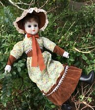 Pretty Vintage Bisque Ceramic Doll Open Shut Blue Eyes Print & Velvet Dress