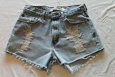 "Womens Levi's 505 Cut Off Blue Jean Shorts 30"" Waist Boyfriend Distressed Holes"