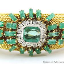 Vintage Wide 17.18ct Diamond Emerald 18Kt Gold Bracelet  76.8 Grams