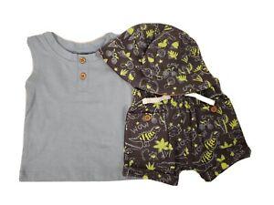 Infant Boy's Light Blue & Neon Yellow Dinos Shorts Set w/Bucket Hat 3-Piece NEW
