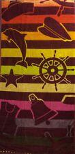 NAUTICAL STRIPE RED LILAC YELLOW BEACH TOWEL 100% EGYPTIAN COTTON 70cm x 180cm