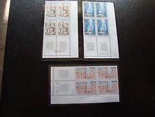 FRANCE - 3 timbres x4 (coin date) 1977 1977 1979 n** (Z13) stamp french