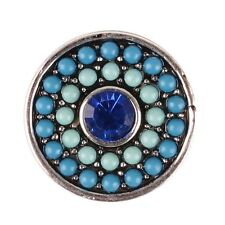 BLUE BEADED w/Rhinestone Interchangeable Noosa Ginger Snaps Button Charm 18mm