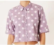 Top Shop Lilac Spot Top Blouse Cropped Top Shirt With £29 Size 10