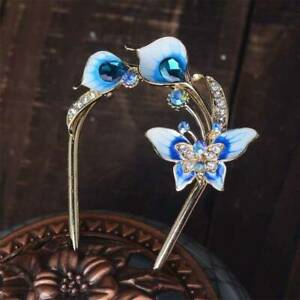 Vintage Chinese Style Enamel Rhinestone Hair Stick Hair Accessories Hairpin Pin