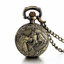 Antique Style Horses Pattern Pocket Dial Arabic Numeral Quartz Watch Necklace
