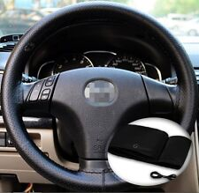 Zone Tech Steering Wheel Cover With Needles & Thread DIY Black Leather Sew On