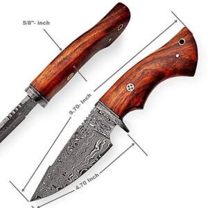 "10"" Custom Handmade Damascus Steel Hunting Knife With Leather Sheath."