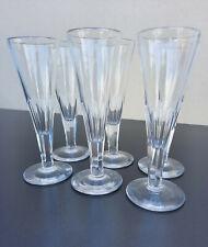 6 anciennes flûtes à Champagne en semi cristal épais Baccarat ou Saint-Louis TBE