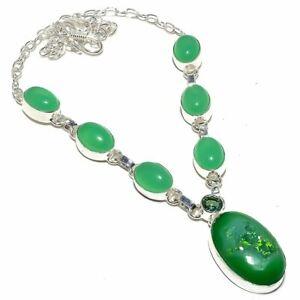 """Green Agate Druzy, Chalcedony Gemstone Silver Jewelry Necklace 18"""" RN303"""
