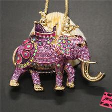 New Purple Enamel Royal Elephant Crystal Pendant Betsey Johnson Chain Necklace