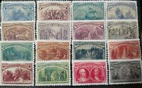 US Stamps SC# 230-45 1893 Columbian Exposition Reproduction Replica Place Holder