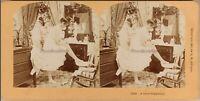 Belle Jeune Donna Toilette Foto Stereo Vintage Albumina 1897