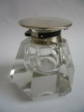 rare antique crystal glass & sterling silver inkwell military hat,Birmingham1914
