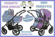 Poussette pour jumeaux FREESTYLE DOUBLE COMBO Poussettes+Berceaux violet+azure