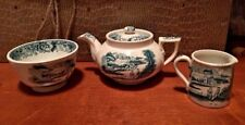 Antique child's toy dish set Farm green English transferware