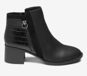 Ex Next Best Forever Black Comfort® BlockAnkle Boots Wide Fit Size UK 5 - 8