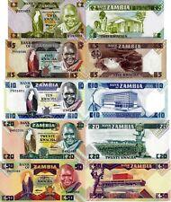 ZAMBIA - Lotto Lot 5 banconote 2/5/10/20/50 kwacha FDS - UNC