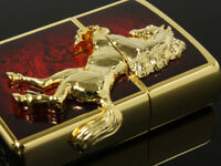 Zippo Oil Lighter Winning Winnie Horse Metal Gold Plated Deep Red Brass F/S