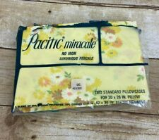 2 PACIFIC MIRACALE Standard Pillowcases Floral Peach Yellow Vtg USA Percale NOS
