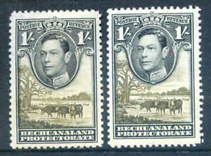 Bechuanaland 1938 Definitives 1sh the 2 shades unmounted mint (2019/04/01#05)