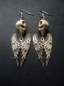 Angel Wing and Skull Earrings Halloween Earrings Halloween Gift Gothic Earrings