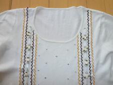 Vintage Pulli Shirt S weiß Langarm Applikation Glasperlchen Pailletten Röschen