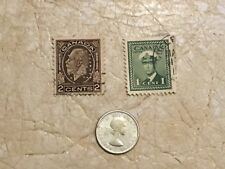 1950 CANADA King George VI 10 Cent SILVER Coin BLUENOSE SHIP Stamp 1932 & 1945