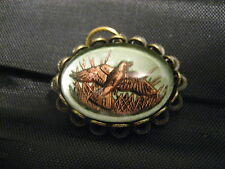 Marsh Bird Quail in flight reverse carved/ painted vintage glass intaglio charm