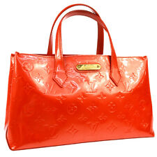 LOUIS VUITTON VERNIS WILSHIRE PM HAND BAG PURSE ORANGE M93644 MI0099 AK41415