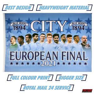 Man City Flag European Final 2021 Large 5ft x 3ft