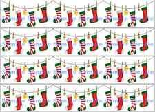 Christmas Garland Stockings Edible Xmas Icing Cake Ribbon Decoration Topper