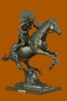 American Indian Riding Horse Bronze Warrior Museum Sculpture Statue Art Decor