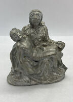 "Michelangelo's Pieta Heavy Pewter Sculpture Figure Jesus Mary 3-1/4"" / 21oz."