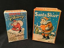 Lot of 2 Vintage 1950s Japan Tin & Hard Plastic Santas - One Wind-up in Chimney