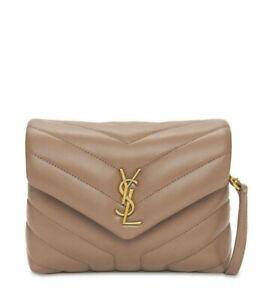NWT SAINT LAURENT YSL Monogram Taupe Toy LouLou Crossbody Shoulder Bag / Clutch